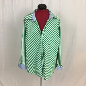 Tommy Hilfiger Green & White Striped Button Down